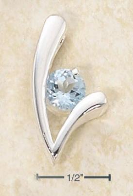 Sterling Silver Designer V Round Blue Topaz Stone Pendant