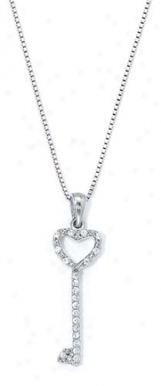 Sterling Silver Diamond Heart Key Necklace