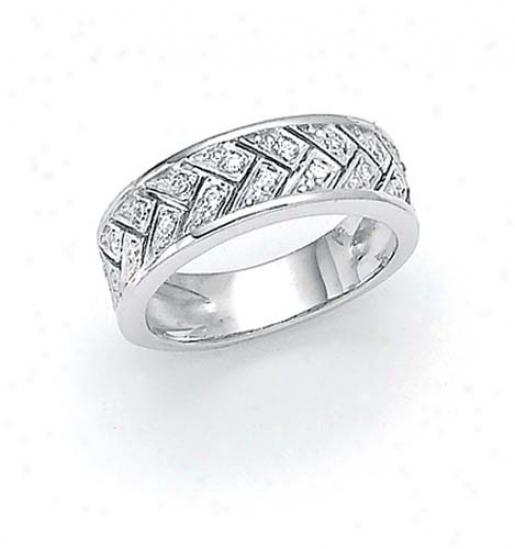 Sterling Silver Diamond Weave Ring
