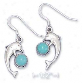 Sterling Silver Dolphin Earrings 5mm Turquoise Cabochon