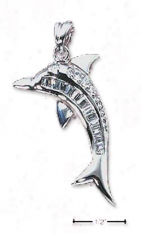 Sterling White Dolphin Pendant Round Baguette Clear Czs