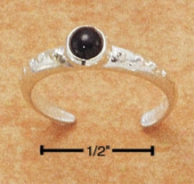 Sterling Silver Dotted Ring Toe Ring Cabochon Onyx Stone