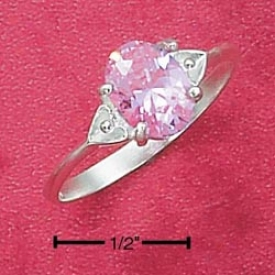Sterling Silver Double Heart Shank Oval Pink Ice Ring