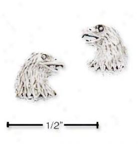 Sterling Silver Eagle Head Post Earrings