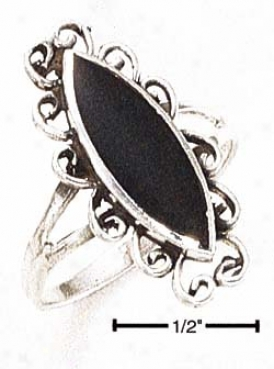 Genuine Silver Elongated Black Onyx With Fancy Scroll Ring