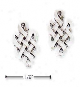 Genuine Silver Elongated Celtic Post Earrings