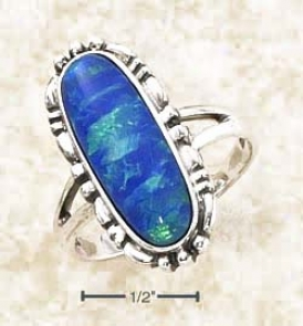 Sterling Silver Elongated Oval Blue Opal Beaded Border Ring