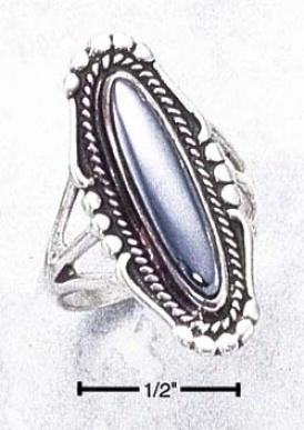Sterling White Elongated Triple Shank Ring Hematite Center