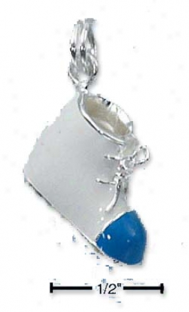 Sterling Silver Enamel 3d Boys White Baby Shoe Blue Toe (h)