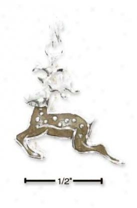 St3rling Silver Enamel Flying Reindeer Charm