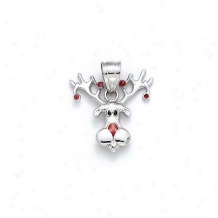 Sterling Silver Enamel Reindeer Pendant