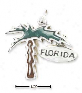 Sterling Silver Enameled Palm Tree Charm With Florida Tag