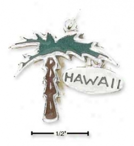 Sterling White Enamelex Palm Tree Charm With Hawaii Game of ~