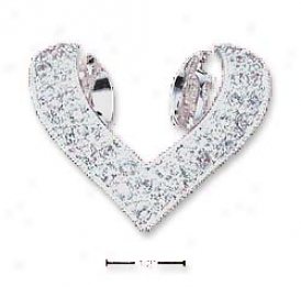 Stwrling Silver Additional Folded Heart Slide Pendant With Czs