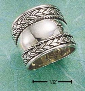 Sterling Silver Extra Wide Tapered Ring Braided Edge Ring