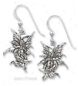 Sterling Silver Faity On Moon Earrings (nickel Free)
