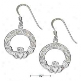 Sterling Silver Fancy Claddaugh Earrings On French Wire