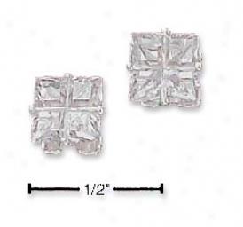 Sterling Silver Fancy Segmented Cut 6mm Cz Stud Earrings