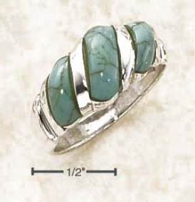 Sterlinv Silver Fancy Shrimp Ring By the side of Turquoise Stones