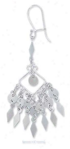 Sterling Silver Fancy Wire Bali Dangles With Fringe Earrings