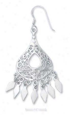 Sterling Silver Filigree Teardrop Earrings With Fringe