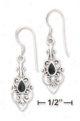 Sterling Silver Filigree With Yx Teardrop Inlay Earrings