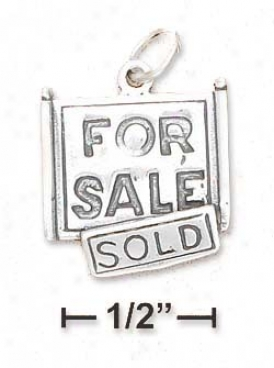 Sterling Silver Flat Antiqued For Sale/slld Sign Charm