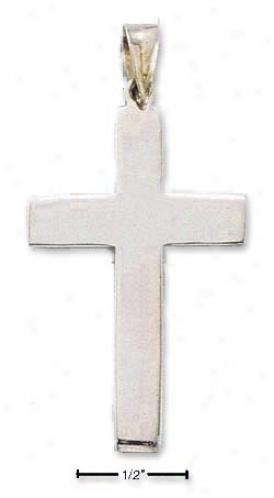 Sterling Silver Flat Cross Pendant - 1-3/4 Inch X 1 Inch