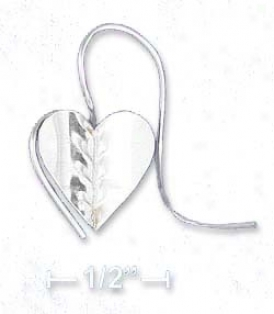 Sterling Silver Flat Folded Heart Curved Wire Earrings