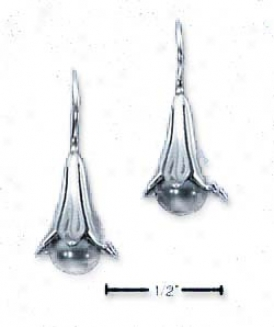 Genuine Silver Floral Bell With Gray Drop Hook Ea5rings