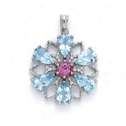Sterling Silver Flower Blue Topaz Pebdant