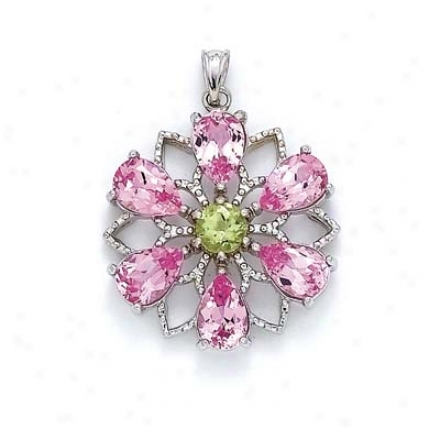 Sterilng Silvre Flower Created Pink Sapphire Pendant