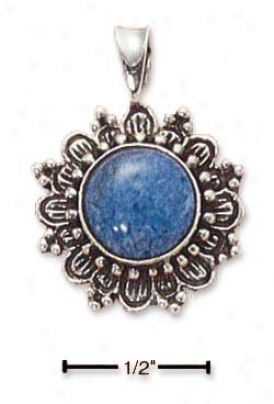 Sterling Silver Flower Like Round Denim Lapis Pendant