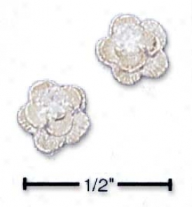 Sterling Silver Flower With Cubic Zircona Post Earrings