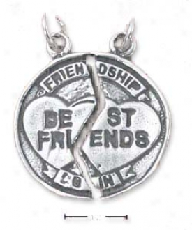 Sterling Silver Friendship/best Friends Broken Medal Charm