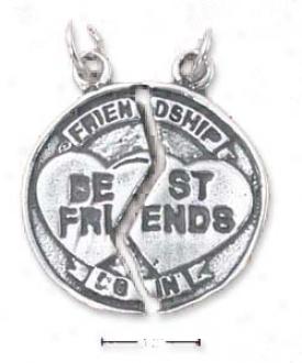 Sterling Silver Friendship/best Friends Broken Medal Charm