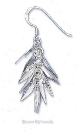 Sterling Silver Fringe French Wire Dangle Earrings