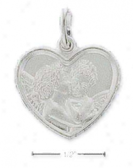 Genuine Silver Frosted Angels In Love Charm