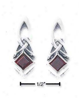 Sterlinh Silver Garnet Celtic Design Earrings