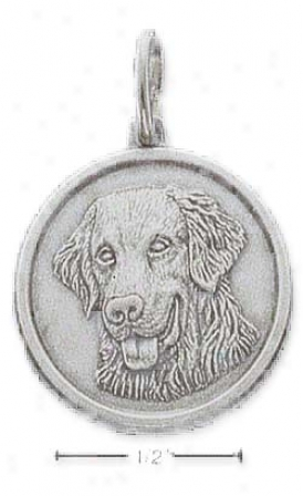 Sterling Silver Golden Retriever Id Charm