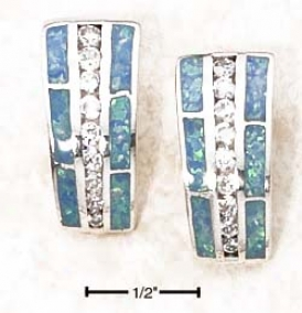 Sterling Silver Graduated Blue Opal Inlays Cz Put in the ledger Earrings