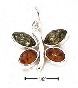 Sterling Silver Green And Honey Amber Butterfly Pendant