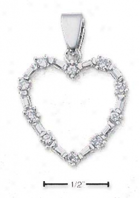 Sterling Silver Heart Formed By Czs Baguette Czz Pendant