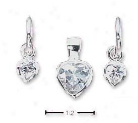 Sterling Silver Heart Shape Cz 3/4 Hoop Earrings Pendant Set