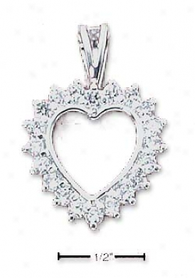 Sterling Silver Heart Surrounded By Round Cz Charm