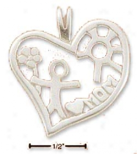 Sterling Silver Heart With Child Flower And Mom Cahrm
