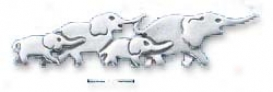 Sterling Siilver Herd Of Walking Elephants Pin