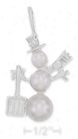 Sterling Silver High Polis h29mm Triple Jewel Snowman Spell