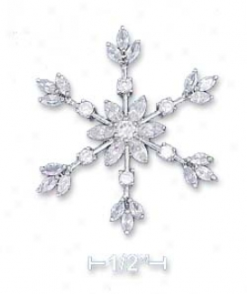 Sterling Silver High Polish 35mm Cz Snowflake Pendant