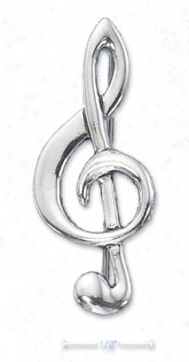 Sterling Silver High Polish G-clef Pin